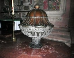 Mainz Cathedral, Germany, Font sculpture