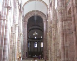 Mainz Cathedral, Germany, Interior columns view