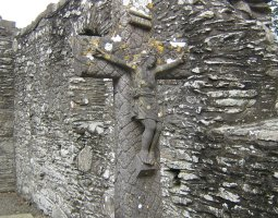 Monasterboice, Ireland, Ruins and Crucifix