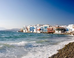 Mykonos, Greece, Sea shore with houses