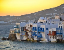 Mykonos, Greece, Houses on the edge