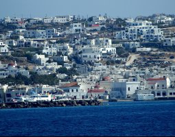 Mykonos, Greece, City view on the hill