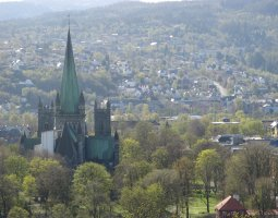Nidaros Cathedral, Trondheim, Norway, Town view