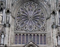 Nidaros Cathedral, Trondheim, Norway, Rose window outside view