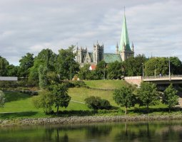 Nidaros Cathedral, Trondheim, Norway, Landscape view