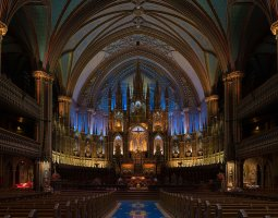 Notre Dame Basilica, Montreal, Canada, Interior panoramic view