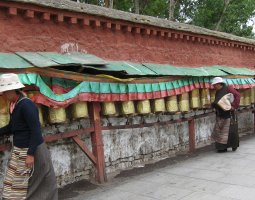 Potala Palace, Tibet, China, Spinning prayer wheels