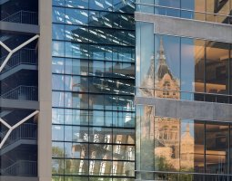 Salt Lake City, USA, Public Library reflection of the across building
