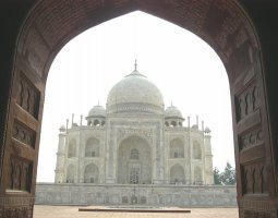 Taj Mahal, India, Mausoleum Trough gate view