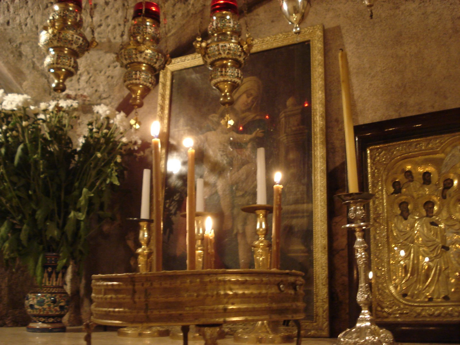 Tomb of the Virgin Mary, Jerusalem, Israel, Icon altar and candles